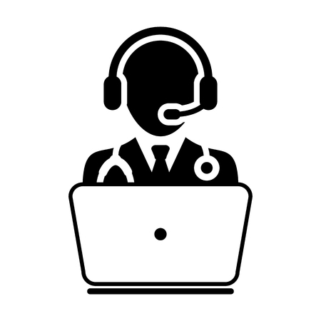 stethoscope boy: Doctor Icon - Flat Vector, Person Avatar Symbol With Laptop and Wearing Headset for On-line  Consultation for Advice and Support Service for Patient in Glyph Pictogram illustration