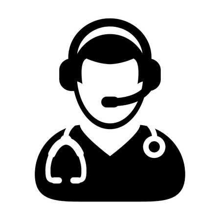 Doctor Icon Symbol With Online Support Wearing Headphone For Contacting Physician Consultation Specialist Avatar In Glyph Pictogram Vector illustration