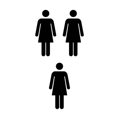 coworker: People Icon - Vector Group of Women Team Symbol for Business Info-graphic Design in Glyph Pictogram illustration