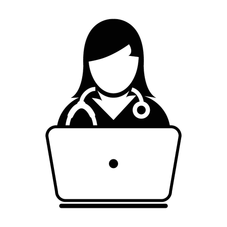 Woman Doctor Icon Vector Online Consultation With Laptop Computer Avatar for Live Chat Advice for Patient In Glyph Pictogram illustration