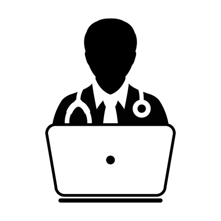advice: Doctor Icon Vector Online Consultation With Laptop Computer Avatar for Live Chat Advice for Patient In Glyph Pictogram illustration