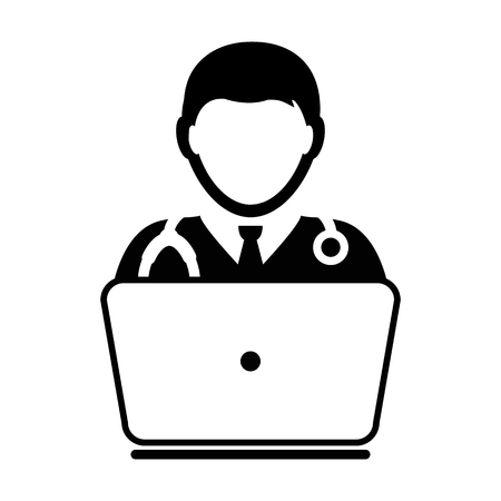 Doctor Icon Vector Online Consultation With Laptop Computer Avatar for Live Chat Advice for Patient In Glyph Pictogram illustration