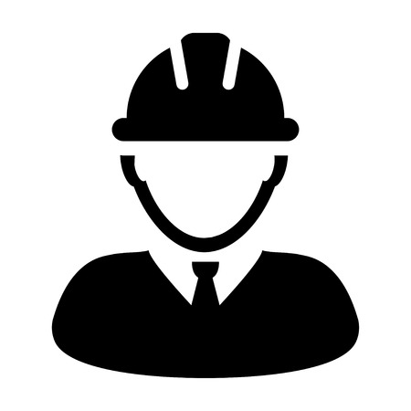 Construction Worker Icon Vector Person Profile Avatar in Glyph Pictogram illustration Illustration