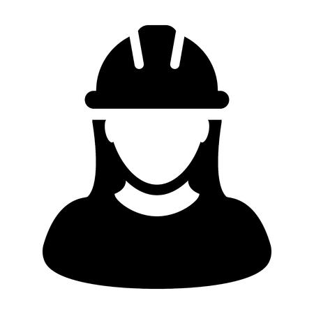 여자 건설 노동자 아이콘 벡터 사람 프로필 그림판 그림에서 아바타 그림 일러스트