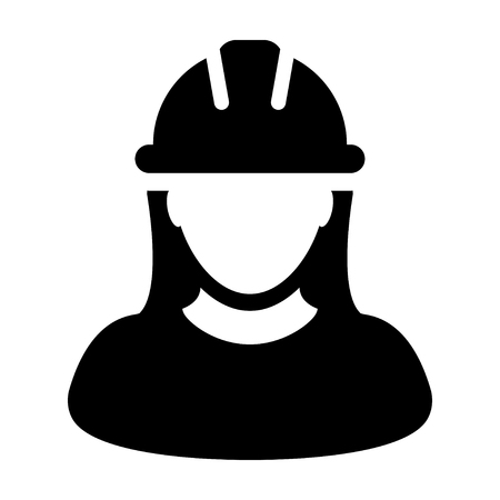 Woman Construction Worker Icon Vector Person Profile Avatar in Glyph Pictogram illustration Ilustração