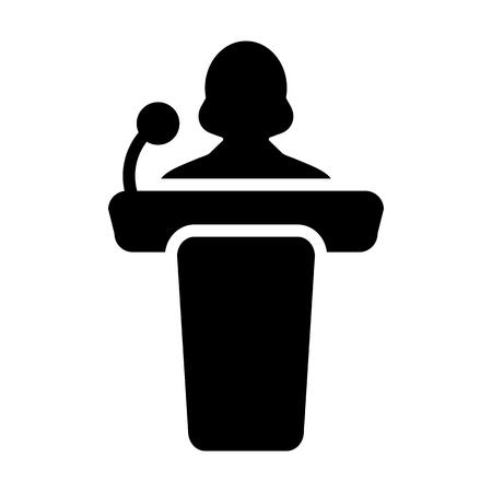 delegate: Podium Icon - Person Public Speech with Microphone Glyph Pictogram Vector illustration