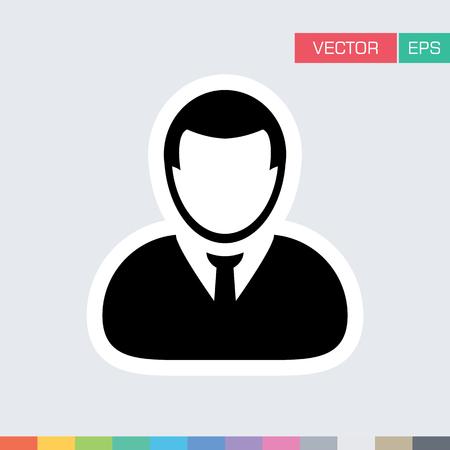 User Icon Flat Vector Person Profile Avatar Symbol in Sticker Glyph Pictogram illustration