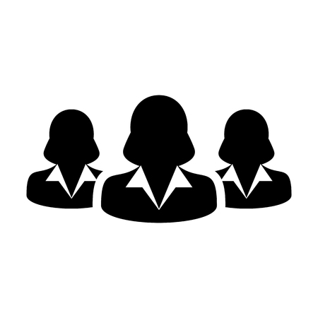 Women Team Icon User Group of People for Business Management Persons Avatar Symbol in Glyph Pictogram illustration Çizim