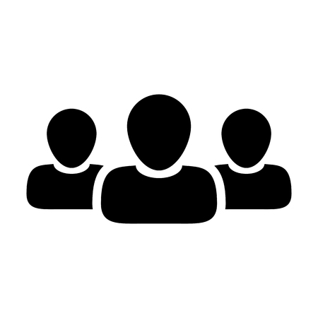 Team Icon User Group of People for Business Management Persons Avatar Symbol in Glyph Pictogram illustration
