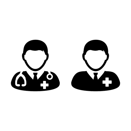 Doctor Icon with Patient or Medical Assistant Avatar in Glyph Pictogram Symbol illustration Illustration