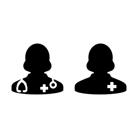 Woman Doctor Icon with Patient or Medical Assistant Avatar in Glyph Pictogram Symbol illustration