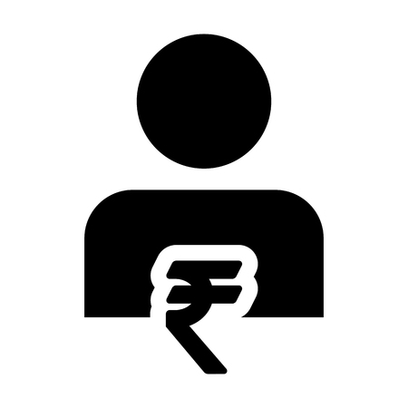 Indian Rupee Symbol Sign Icon Vector With Person Male Avatar