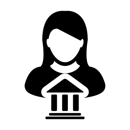 Bank Icon Vector With Person Profile Female Avatar Symbol for Banking and Finance in Glyph Pictogram illustration
