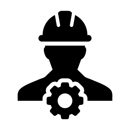 Service Icon Vector Male Person Worker Avatar Profile with Gear Cog Wheel for Engineering Support and with Hard Hat in Glyph Pictogram Symbol illustration Vettoriali