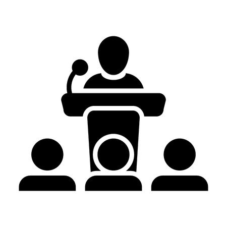 Icône de prise de parole en public vecteur personne de sexe masculin sur le podium pour la présentation et le séminaire pour les personnes avec microphone en illustration de symbole pictogramme glyphe