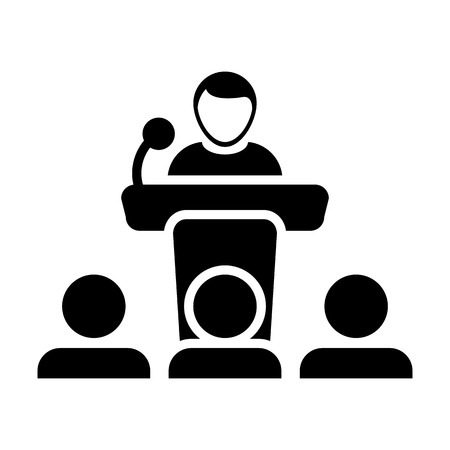 Public speaking icon vector. Male person on podium for presentation and seminar for people with microphone in glyph pictogram symbol illustration. Vectores
