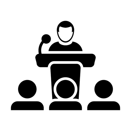 Public speaking icon vector. Male person on podium for presentation and seminar for people with microphone in glyph pictogram symbol illustration. Illustration