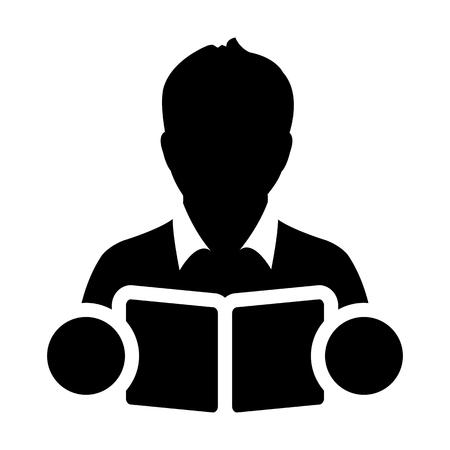 Boek pictogram vector met mannelijke student of leraar persoon profiel avatar voor school, hogeschool en universiteit. Onderwijs in glyph pictogram symbool illustratie.