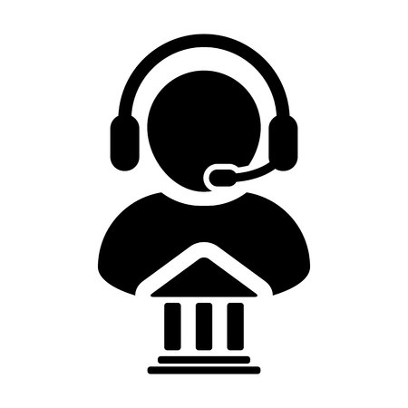 Service icon. Vector of bank call center male person profile avatar for online support with  headset in Glyph. Pictogram symbol illustration