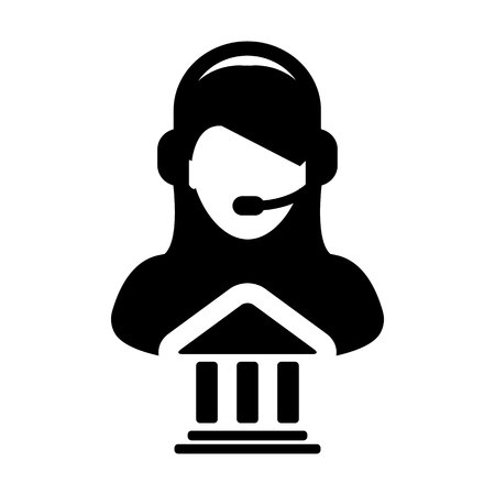 Service icon. Vector of bank call center female person profile avatar for online support with  headset in Glyph. Pictogram symbol illustration  イラスト・ベクター素材