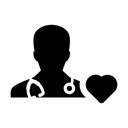 Doctor Icon Vector Cardiologist Specialist with Heart Symbol for Male Physician Profile Avatar in Glyph Pictogram illustration Illustration