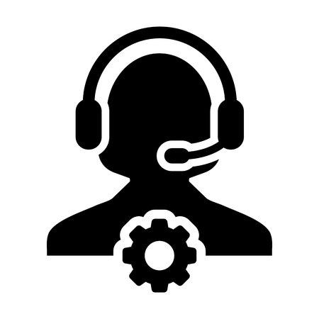 Service Icon Vector. Female Operator Person Profile Avatar