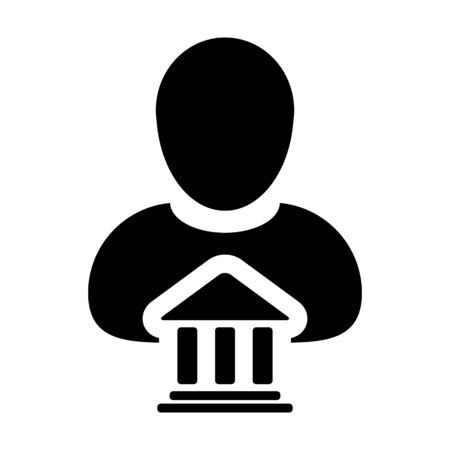 Bank Icon Vector With Person Profile Male Avatar Symbol for Banking and Finance.
