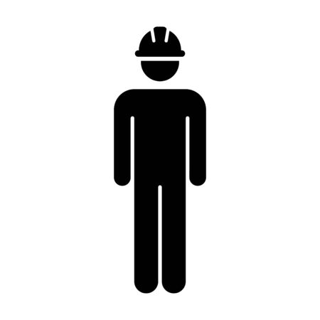 Worker Icon Vector Male Service Person of Building Construction Workman With Hardhat Helmet in Glyph Pictogram Symbol illustration