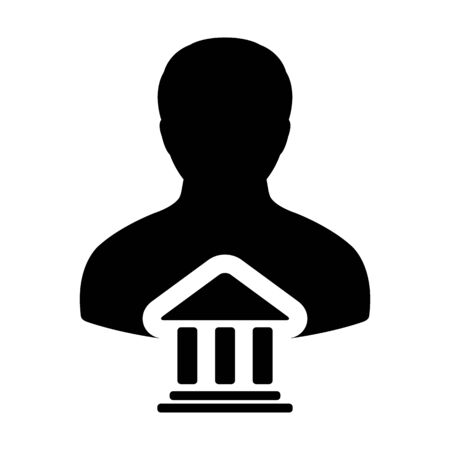Bank Icon Vector With Person Profile Male Avatar Symbol for Banking and Finance in Glyph Pictogram illustration