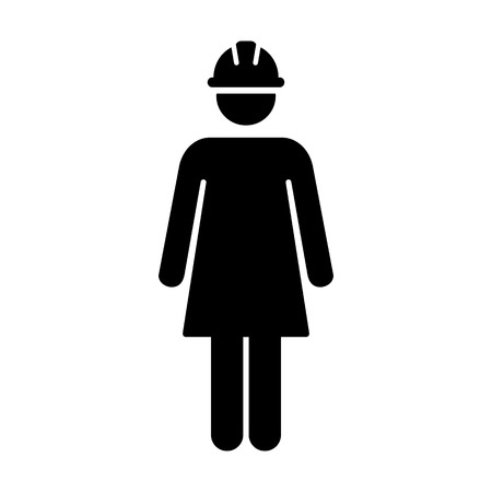 Worker Icon Vector Female Service Person of Building Construction Workman With Hardhat Helmet in Glyph Pictogram Symbol illustration
