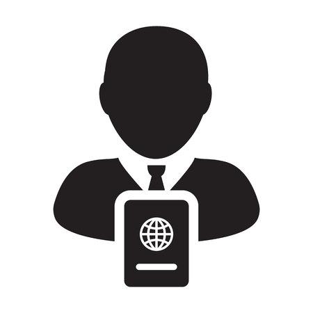 Passport Icon Vector With Male Person Profile Avatar Symbol