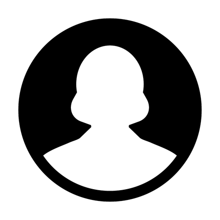 Avatar icon vector female user person profile symbol in flat color glyph pictogram illustration