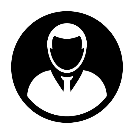 Avatar icon vector male user person profile symbol in flat color glyph pictogram illustration