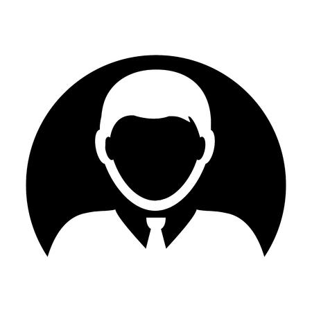 Person icon vector male user profile avatar symbol in circle  flat color glyph pictogram illustration