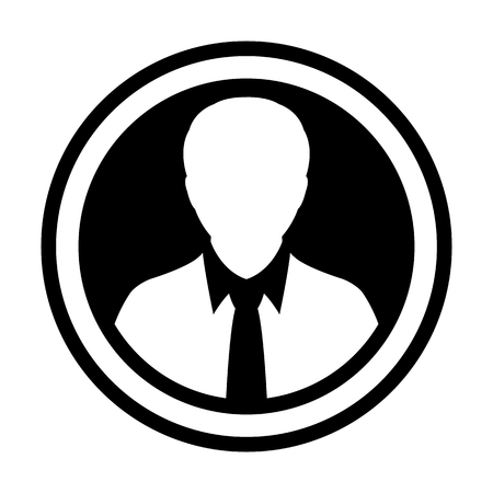 Avatar icon vector male person symbol circle user profile avatar sign in flat color glyph pictogram illustration Illustration