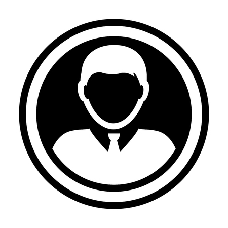 Avatar icon vector male person symbol circle user profile avatar sign in flat color glyph pictogram illustration