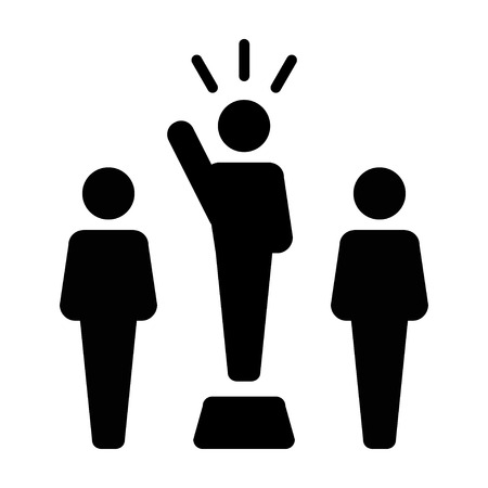 Leader Icon vector male public speaker person symbol for leadership with raised hand in glyph pictogram illustration
