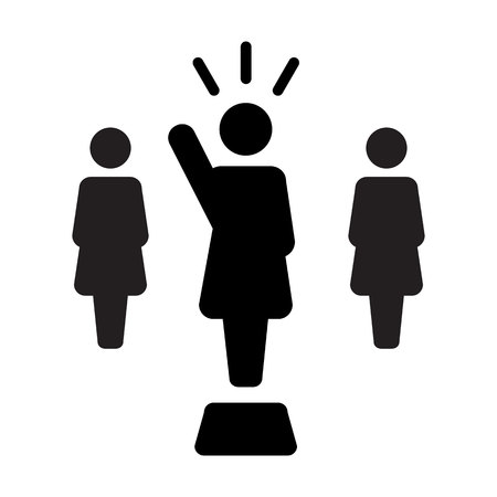 Leader Icon vector female public speaker person symbol for leadership with raised hand in glyph pictogram illustration