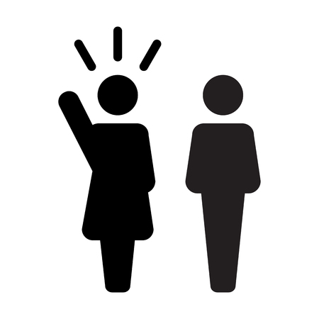Leader Icon vector male and female public speaker person symbol for leadership with raised hand in glyph pictogram illustration Vektorové ilustrace