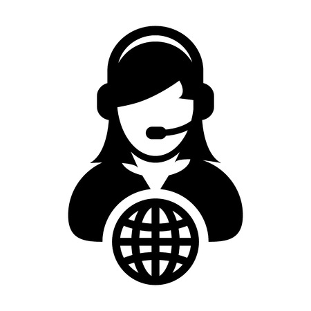 Internet icon vector female customer service person profile symbol with headset for internet network online support in glyph pictogram illustration