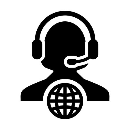 Call center icon vector female customer service person profile symbol with headset for internet network online support in glyph pictogram illustration