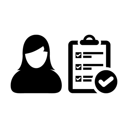Checklist icon vector female person profile avatar with survey report document and tick symbol in flat color Glyph Pictogram illustration