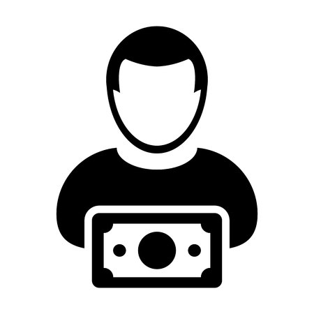 Money icon vector male user person profile avatar with currency symbol in flat color glyph pictogram illustration