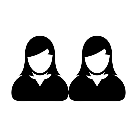 People icon vector female group of persons symbol avatar for business in flat color glyph pictogram illustration