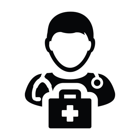 Medical icon vector male doctor person profile avatar with Stethoscope and first aid kit bag for Consultation in Glyph Pictogram illustration