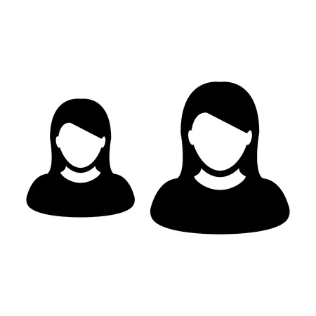 Group icon vector female persons symbol avatar for business team management in flat color glyph pictogram illustration