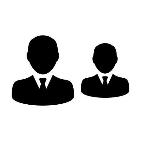 Business people icon vector male group of persons symbol avatar for business management team in flat color glyph pictogram illustration Illustration
