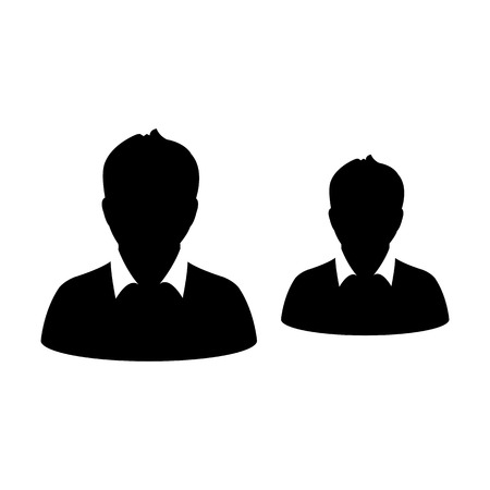 Team icon vector male group of persons symbol avatar for business management in flat color glyph pictogram illustration