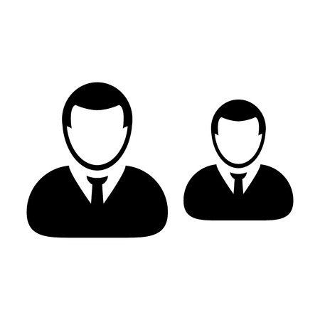 People icon vector male group of persons symbol avatar for business team management in flat color glyph pictogram illustration Illustration