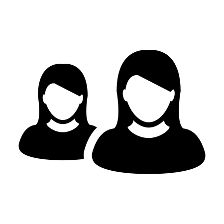 Business person icon vector female group of persons symbol avatar for business management team in flat color glyph pictogram illustration